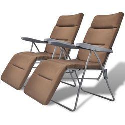 składane regulowane krzesła ogrodowe z poduszkami na siedzenia 2 szt brązowe, marki Vidaxl