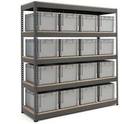 Kompletny regał magazynowy, 16 pojemników o poj 62 l marki Array