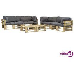 vidaXL Ogrodowe meble z palet, 6 szt., drewno FSC + szare poduszki