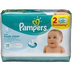 Chusteczki nawilżane PAMPERS Baby Fresh Clean (2 x 64 sztuki), towar z kategorii: Pieluchy jednorazowe