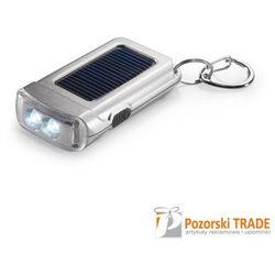Satynowy srebrny breloczek do kluczy z latarką na baterię słoneczną RINGAL, towar z kategorii: Latarki