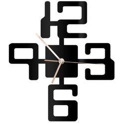 Zegar z pleksi na ścianę Duże cyfry ze złotymi wskazówkami