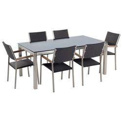 Beliani Stół szklany czarny - 180 cm - z 6 rattanowymi krzesłami - grosseto