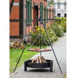 Korono Grill na trójnogu z rusztem ze stali czarnej + palenisko ogrodowe 80 cm / 80 cm
