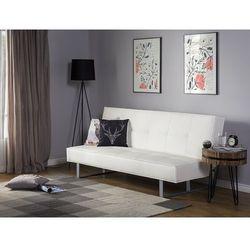 Sofa z funkcją spania skóra ekologiczna biała 189 cm derby mała marki Beliani