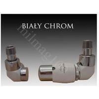 Zestaw zaworów grzejnikowych termostatycznych LUX prawy BIAŁY -CHROM