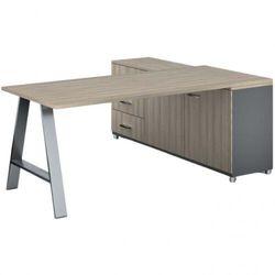 Biurowy stół roboczy alfa a z szafką po lewej, blat 1800 x 800 mm, naturalny dąb marki B2b partner