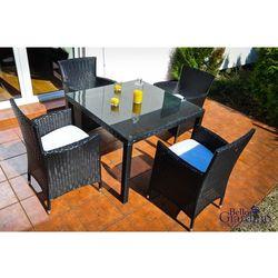 Bello giardino Zestaw mebli ogrodowych stół i krzesła piccolo z technorattanu czarny
