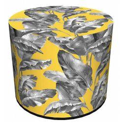 Żółto-szara okrągła pufa z oddobnym printem - Atola, kolor szary