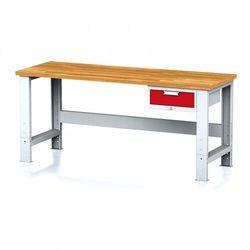 Stół warsztatowy mechanic, 2000x700x700-1055 mm, nogi regulowane, 1x szufladowy kontener, 1x szuflada, czerwona marki B2b partner