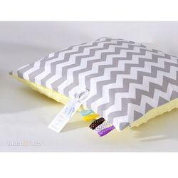 Mamo-tato poduszka minky dwustronna 40x40 zygzak szary / żółty