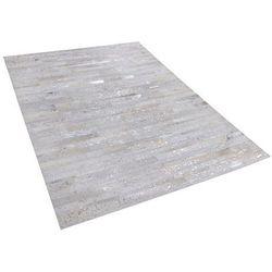 Beliani Dywan skórzany beżowy/srebrny 140 x 200 cm tipili