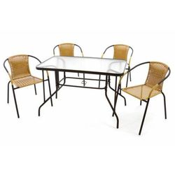 5-częściowy zestaw mebli ogrodowych,4 krzesła polirattan - stół szklany