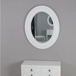 Owalne lustro, ozdobna rama, kolor biały.