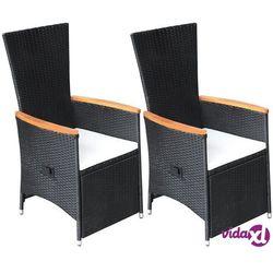 rozkładane krzesła ogrodowe 2 szt., poduszki, rattan pe, czarne marki Vidaxl