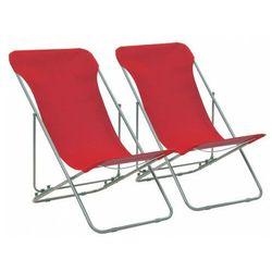 Elior Vidaxl składane krzesła plażowe, 2 szt, stal, tkanina oxford, czerwone
