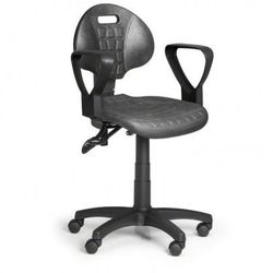 Krzesło PUR z podłokietnikami, asynchroniczna mechanika, do miękkich podłóg
