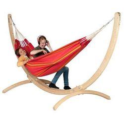 Zestaw hamakowy: hamak dwuosobowy currambera ze stojakiem canoa, czerwony cuh16cns16-1 marki La siesta