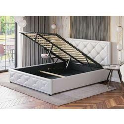Białe łóżko sypialniane z pojemnikiem 160x200 lb-45 ekoskóra marki Meblemwm