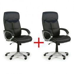 Skórzany fotel biurowy Foster, czarny, 1+1 GRATIS
