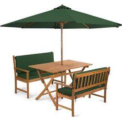 Fieldmann meble ogrodowe EMILY 4L2 + poduszki + parasol, zielone