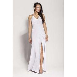 Popielata elegancka długa sukienka wiązana na szyi, Dursi, 34-42