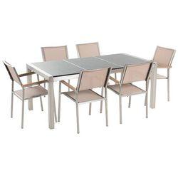 Beliani Meble ogrodowe - stół granitowy 180 cm szary polerowany z 6 beżowymi krzesłami - grosseto (7081453736800)