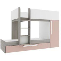 Vente-unique Łóżko piętrowe antonio z wysuwaną szufladą — 3 × 90 × 190 cm — wbudowana szafa — drewno sosnowe w kolorach pudrowy róż i biały