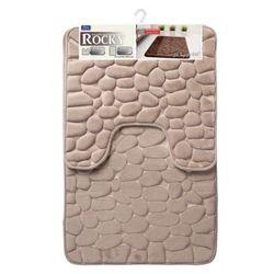 Galicja rocky dywanik łazienkowy 2 elementy 50 x 50 cm 50 x 80 cm memory foam pianka pamięć kształtu beż 6242