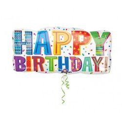 Balon foliowy urodzinowy Happy Birthday - 83 x 40 cm - sprawdź w wybranym sklepie