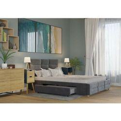 Łóżko 120x200 tapicerowane bergamo + 2 szuflady welur ciemno szare marki Big meble