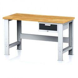 Stół warsztatowy mechanic, 1500x700x700-1055 mm, nogi regulowane, 1x szufladowy kontener, 1x szuflada, antracyt marki B2b partner