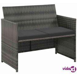 sofa 2-osobowa z polirattanu, 100 x 56 x 85 cm, szara marki Vidaxl