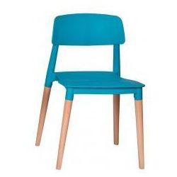 King home Krzesło plastikowe ecco premium turkusowe - polipropylen, podstawa bukowa