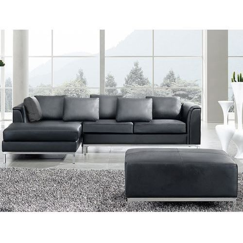 Sofa narozna R – skórzana – czarna - sofa z pufa - kanapa OSLO, produkt marki Beliani