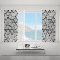 Zasłona okienna na wymiar - GREY RHOMBES 2D