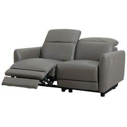 Sofa 2-osobowa z elektryczną funkcją relaksu CLEOPHEE ze skóry premium - Kolor taupe, kolor szary