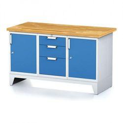 Stół warsztatowy mechanic, 1500x700x880 mm, 1x 3 szufladowy kontener, 2x szafka, szara/niebieska marki B2b partner