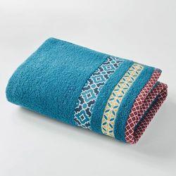 Bawełniany ręcznik frotte z kolorową listwą evora., marki La redoute interieurs