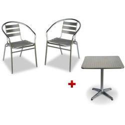 Zestaw ogrodowych mebli jadalnianych MONTMARTRE z aluminium: mały kwadratowy stolik i 2 krzesła