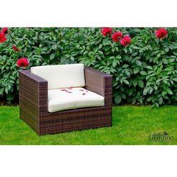 Bello giardino Duży fotel ogrodowy z brązowego technorattanu