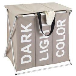 Kosz na pranie, 3 komory, aluminiowa rama, pojemnik na bieliznę, kolor szary, pokrywa, uchwyt do przenoszenia, 118 litrów, składany marki Wenko