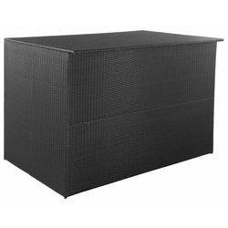 Czarna rattanowa skrzynia tarasowa - Milono, vidaxl_44245