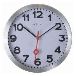 Nextime:: Zegar Ścienny Station Ø 35 cm Srebrny Cyfry Arabskie