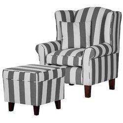 WEST fotel tapicerowany z pufą - szary