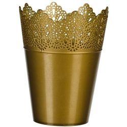 Osłona plastikowa na doniczkę Koronka 15 cm, złoty