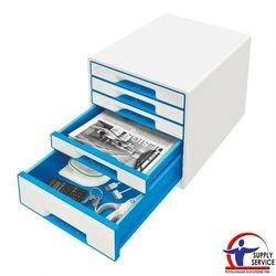Pojemnik Leitz WOW dwukolorowy z 5 szufladami nieb.-biały 52141036, 52141036