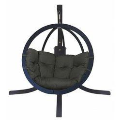 Antracytowy wiszący fotel ogrodowy z grafitową poduszką - Parys 4X