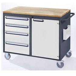 Stół warsztatowy, ruchomy,4 szuflady, 1 drzwi, blat roboczy z drewna marki Rau