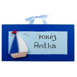 Coloriko Ozdoba ręcznie malowana  (z personalizacją) - tabliczka na drzwi z łódką